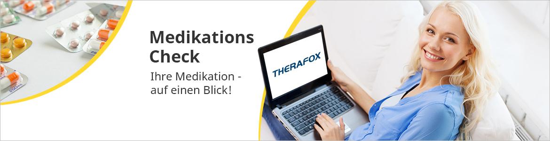 Prüfen Sie Ihre aktuelle Medikation auf Wechselwirkungen mit dem THERAFOX MedikationsCheck!