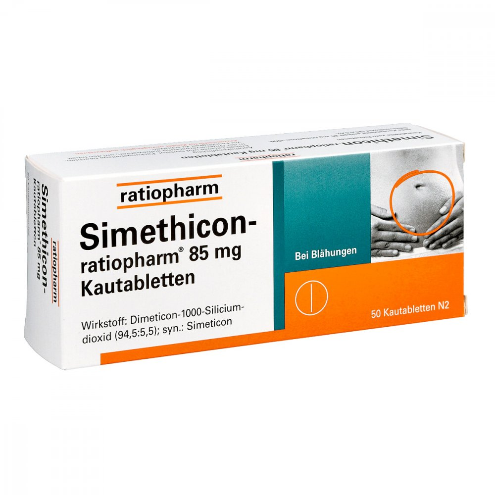ratiopharm GmbH Simethicon-ratiopharm 85mg 50 stk 01364796