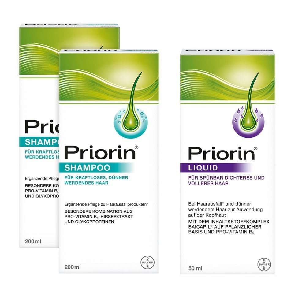 Bayer Vital GmbH 2x Priorin Shampoo + Priorin Liquid Pumplösung 1 Pck 08100082