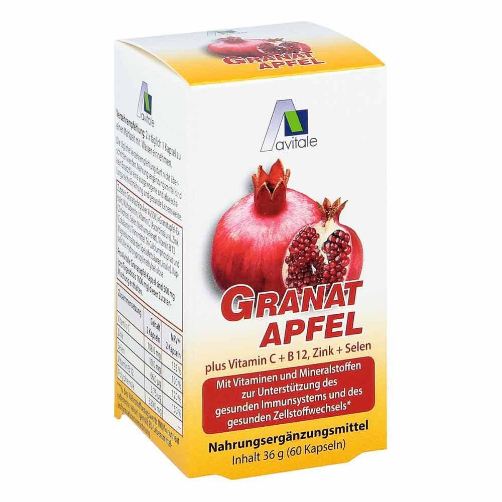 Avitale GmbH Granatapfel 500 mg plus Vitamine c + B12 + Zink + Selen 60 stk 09537871