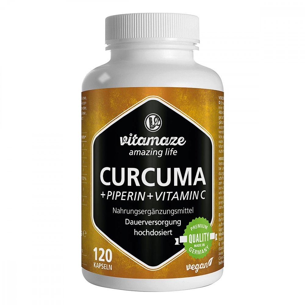 Vitamaze GmbH Vitamaze CURCUMA+PIPERIN+Vitamin C vegan 120 stk 12580511