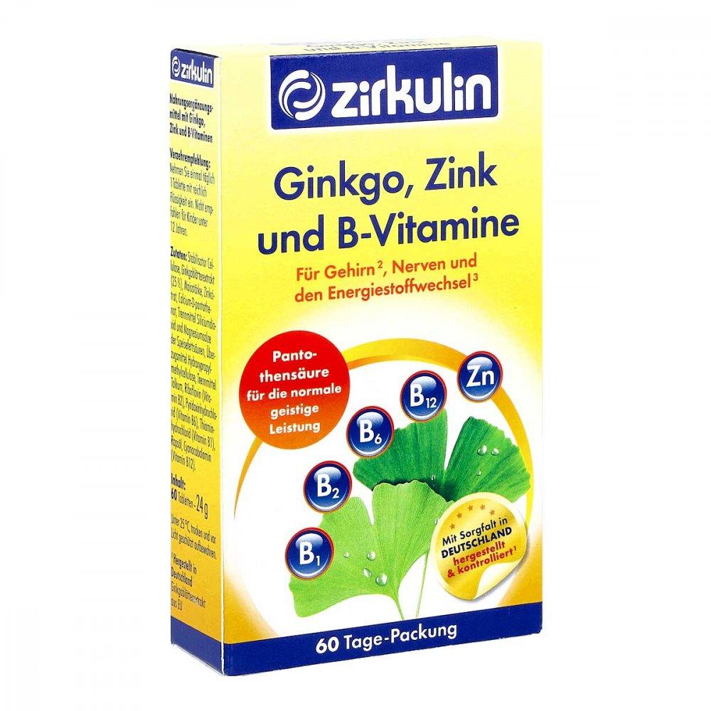 DISTRICON GmbH Zirkulin Ginkgo Zink und B-vitamine Filmtabletten 60 stk 13567211