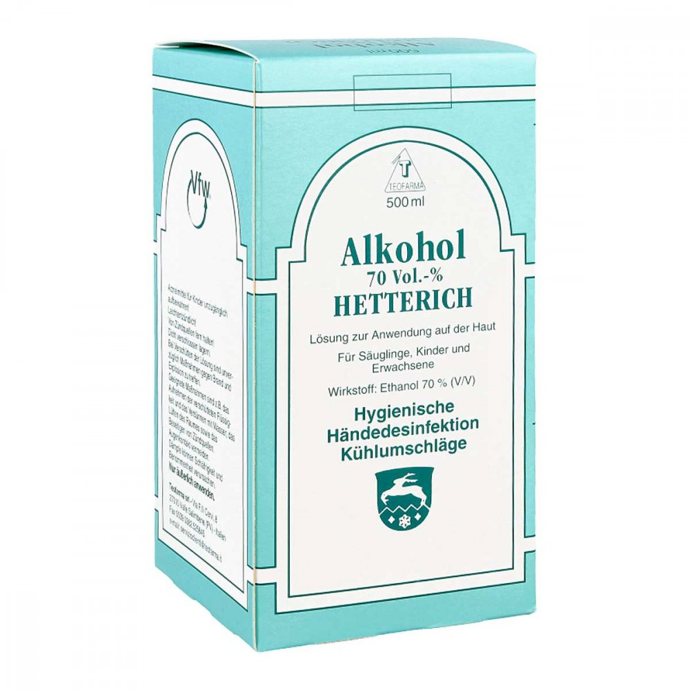 Teofarma s.r.l. Alkohol 70% V/v Hetterich 500 ml